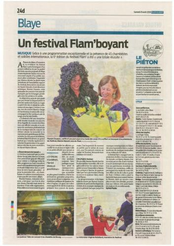 Festival Flam Sud ouest 25 aout 2018
