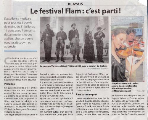 Haute Gironde Festival Flam 26 juillet 2019